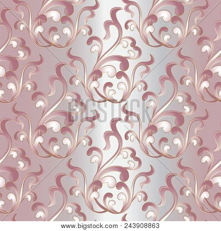 Baroque Damask Seamless Pattern. Vintage Light Floral Background Wallpaper Illustration With Pink  F