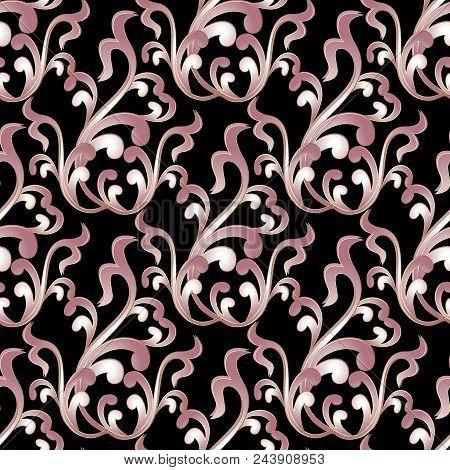 Baroque Damask Seamless Pattern. Vintage Black Floral Background Wallpaper Illustration With Pink  F