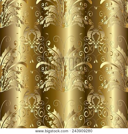 Baroque Seamless Pattern. Floral Damask Gold Background Wallpaper  With 3d Gold Butterflies, Flowers