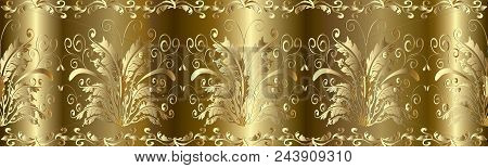 Baroque Seamless Border Pattern. Floral Damask Gold Background Wallpaper With 3d Gold Butterflies, F