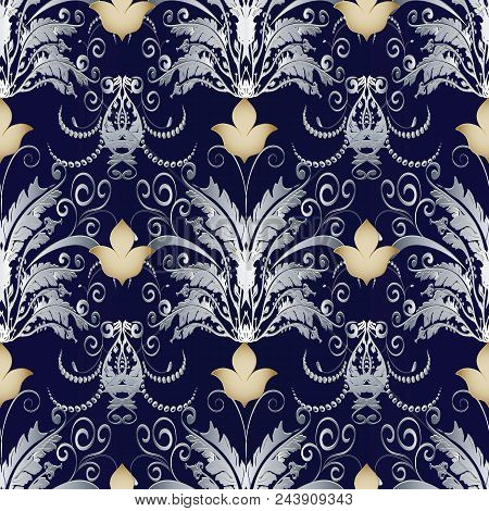 Baroque Seamless Pattern. Floral Damask Blue Background Wallpaper With 3d Silver Butterflies, Gold L