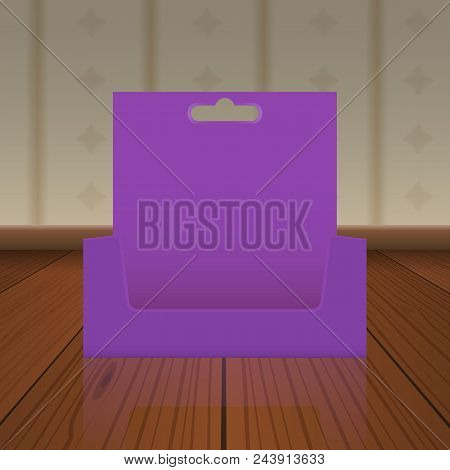 Empty Cardboard Or Visit Card Display Box With Hole To Hang Up Mockup With Front Viewpoint On Wood F