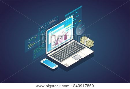Finance Analysis Computer Web App. Isometric Laptop With Chart And Financial Growth Graph. Money And