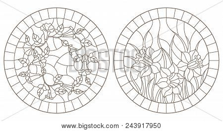 Set Of Contour Illustrations With Colors, Loam And Daffodils In Frames, Round Images, Dark Contours