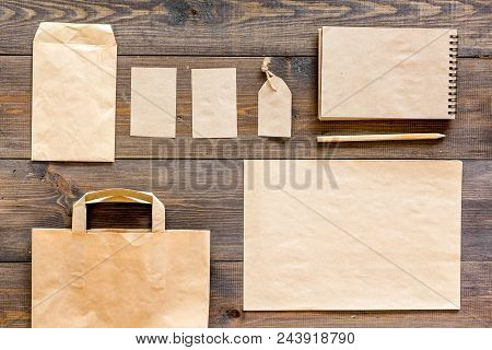 Mockup Business Brand Template. Blank Stationery And Accessories Made Of Craft Paper For Branding On