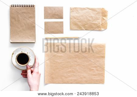Mockup Business Brand Template. Blank Stationery Made Of Craft Paper For Branding Near Coffee On Whi