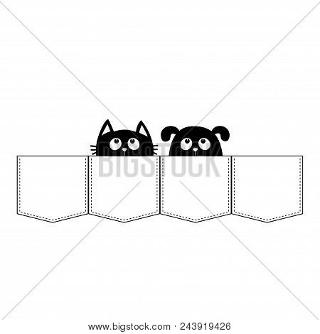 poster of Cute cartoon animals. Cat Dog in the pocket. Kitten kitty Puppy pooch contour character. Dash line. Pet animal collection. White and black color. T-shirt design. Isolated. Baby background. Flat Vector