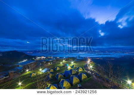 Tent Camping On Mountains Under Mist In The Morning At Phu Tub Berk, Petchabun Thailand