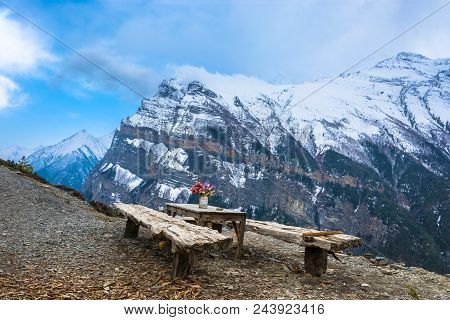 Beautiful Holiday Destination At The Top Of The Mountain In The Himalayas And Against The Snowy Moun