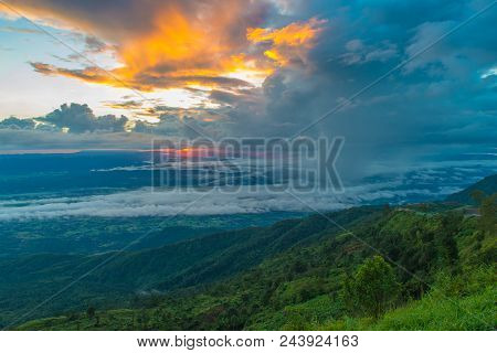 Mountains Under Mist In The Morning With Sunrise At Phu Tub Berk, Petchabun Thailand