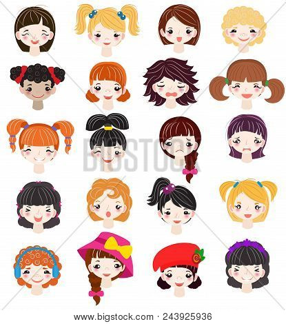 Girl Portrait Vector Female Girlie Character Face Of Woman With Hairstyle And Cartoon Person Girlfri