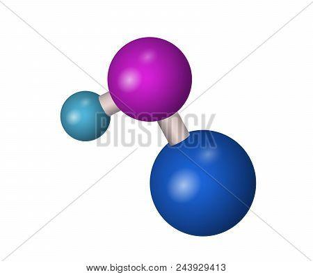3d Naoh Molecule. Sodium Hydroxide. Chemistry Vector Illustration