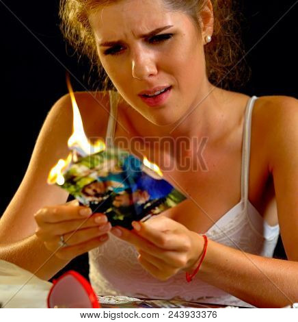 Wedding memories. Broken heart woman. Couple break up. Sad bride on unhappy wedding. Mutual passion without love. Portrait crying female. Family has divorce. Aborted love.