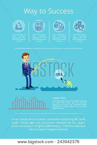 Way To Success Strategy Visualization With Business Person Attracting Investments. Vector Illustrati