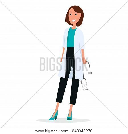 Woman Doctor With Stethoscope Isolated On White Vector Illustration. Therapist In White Uniform, Pra