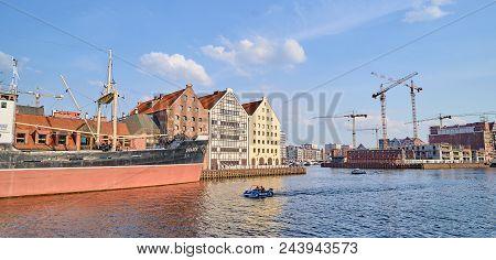 Gdansk, Poland - April 28, 2018: Ss Soldek Ship On Motlawa River On 28 April 2018 In Gdansk, Poland.