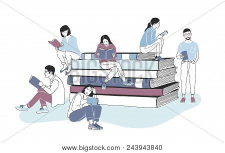 Male And Female Readers Dressed In Stylish Clothes Sitting On Pile Of Giant Books Or Beside It And R