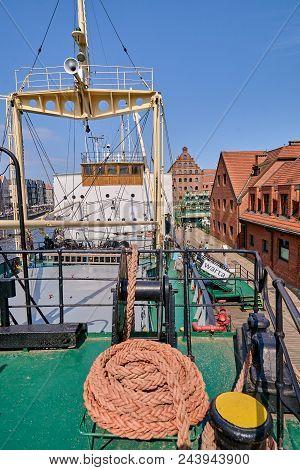 Gdansk, Poland - April 29, 2018: Ss Soldek Ship On Motlawa River On 29 April 2018 In Gdansk, Poland.
