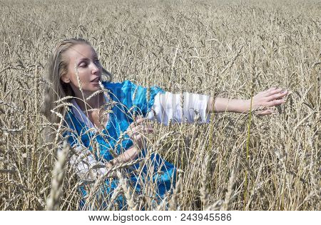 Beautiful Woman In A Blue Long Dress In The Field Of Ripe Cereals