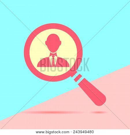 Flat Modern Trand Magnifying Glass With Magnifying Glass With Businessman Icon On Blue And Pink Past