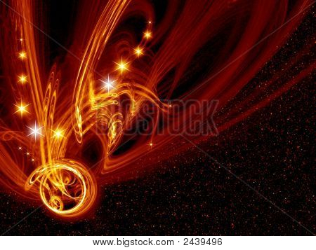 Fiery space fantasy. Background for design artworks poster