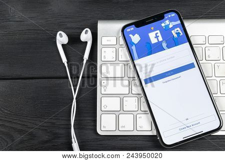 Sankt-petersburg, Russia, June 2, 2018: Facebook Application Icon On Apple Iphone X Smartphone Scree