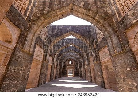 Ancient Fort Ruined City At Mandu, Madhya Pradesh, India. Arched Architecture In The Palace Jahaz Ma
