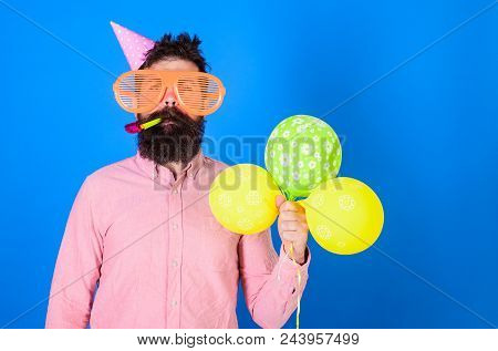 Celebration Concept. Hipster In Giant Sunglasses Celebrating Birthday. Man With Beard And Mustache O