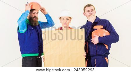 Builder, Engineer, Architect Confuse At Work. Confusing Concept. Men And Woman In Helmets, Architect