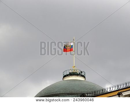 Waving Russian Flag Over The Residence Of The President Of Russia In Moscow. Russian President Stand