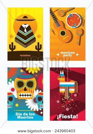 Vector Cards With Mexica Elements. Vertical Design Templates Dedicated To Mexico, Decorated With Pin