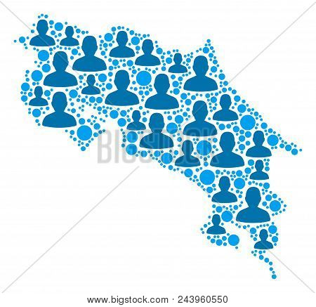 Population Costa Rica Map. Demography Vector Concept Of Costa Rica Map Composed Of Random People Ele