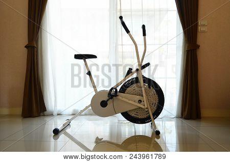 Exercise Bike In Living Room Of Modern House