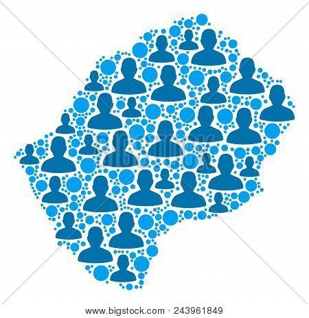 Population Lesotho Map. Demography Vector Composition Of Lesotho Map Constructed Of Scattered Men El