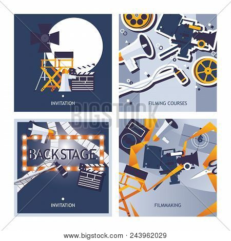 Vector Cards Set Dedicated To Filming, Movie Making And Cinematographer Profession. Square Designs T