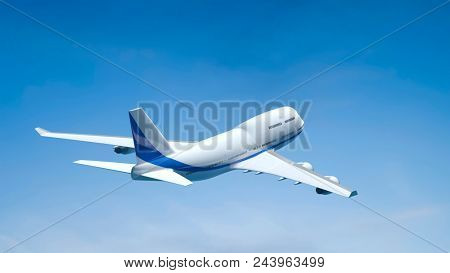 3d illustration of an airplane in the blue sky
