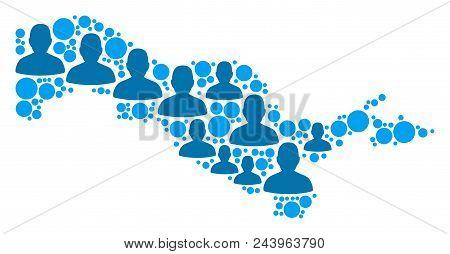 Population Uzbekistan Map. Demography Vector Collage Of Uzbekistan Map Done Of Random Crowd Elements