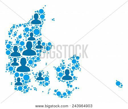 Population Denmark Map. Demography Vector Abstraction Of Denmark Map Done Of Randomized Crowd Items