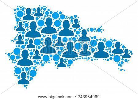 Population Dominican Republic Map. Demography Vector Mosaic Of Dominican Republic Map Done Of Random
