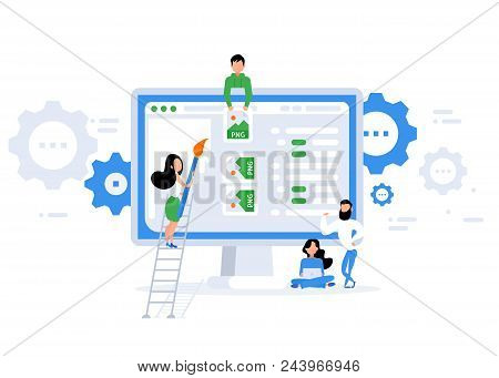 Repair Of The Page. Error 404 Page. Flat Vector Illustration In Cartoon Style.  Trendy Flat Style. V
