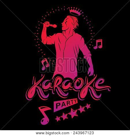 Karaoke Party Flyers Vector Cover Design Created Using Musical Notes, Stars And Soloist Singing To M