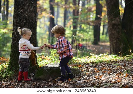 Little Boy And Girl Friends Camping In Woods. Childhood And Child Friendship, Love And Trust. Brothe