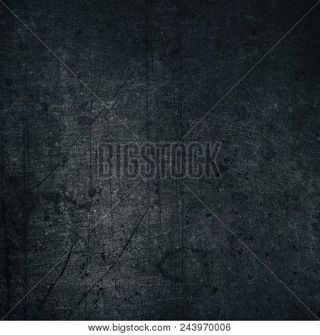 Black Color Painted Metal Texture. Aged Dark Gray Scratched Shabby Metallic Surface. Retro Grunge Ba