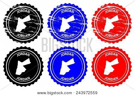 Jordan - Rubber Stamp - Vector, The Hashemite Kingdom Of Jordan Map Pattern - Sticker - Black, Blue