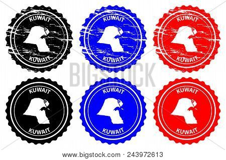 Kuwait - Rubber Stamp - Vector, State Of Kuwait Map Pattern - Sticker - Black, Blue And Red