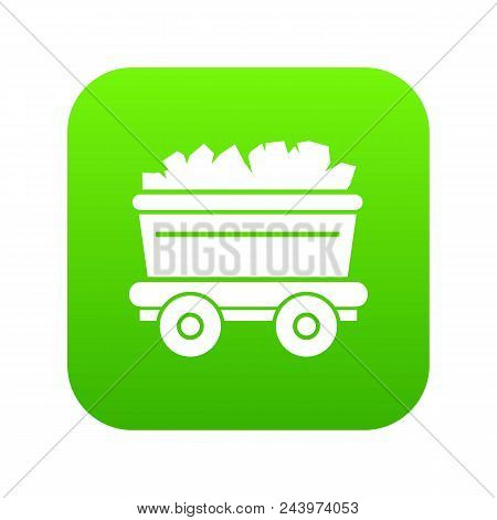 Mine Cart Icon. Simple Illustration Of Mine Cart Vector Icon For Web