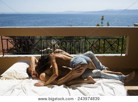 Family And Valentines Day. Summer Holidays And Paradise Travel Vacation. Love Relations Of Naked Cou