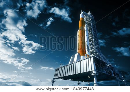 Space Launch System On Launchpad Over Background Of Sky. 3d Illustration.