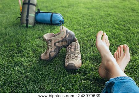 Selfie Of Feet Without Shoes. Tourist Take Off Her Shoes, After A Long Hike, Resting Her Feet On The