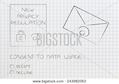New Data Protection Regulations Conceptual Illustration: Privacy Text Next To Email Envelope And Dat